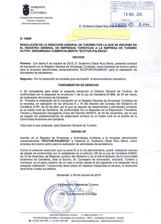 INCRIPCIÓN REGISTRO GENERAL EMPRESAS TURISTICAS DE CANTABRIA
