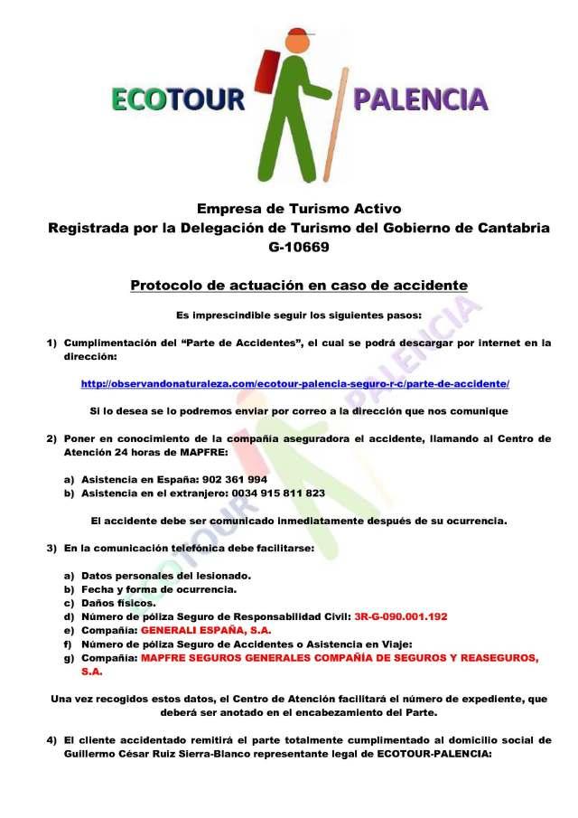 ECOTOUR-PALENCIA, PROTOCOLO DE ACTUACIÓN EN CASO DE ACCIDENTE_Página_1