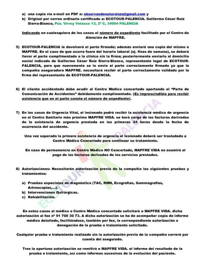 ECOTOUR-PALENCIA, PROTOCOLO DE ACTUACIÓN EN CASO DE ACCIDENTE_Página_2