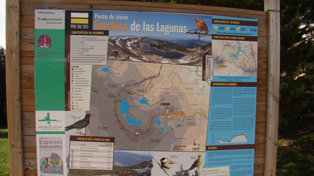 Lagunas de Neila, cartel de ruta PR-BU 203