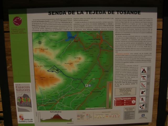 Panel informativo, ruta senda de la Tejeda de Tosande