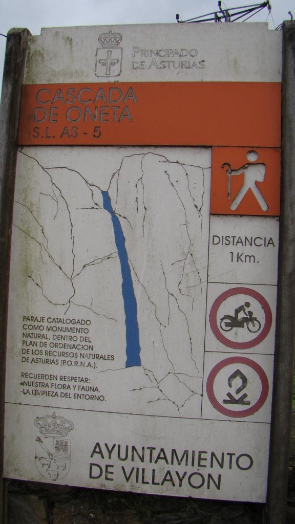 Panel Indicativo ruta Cascada de Oneta
