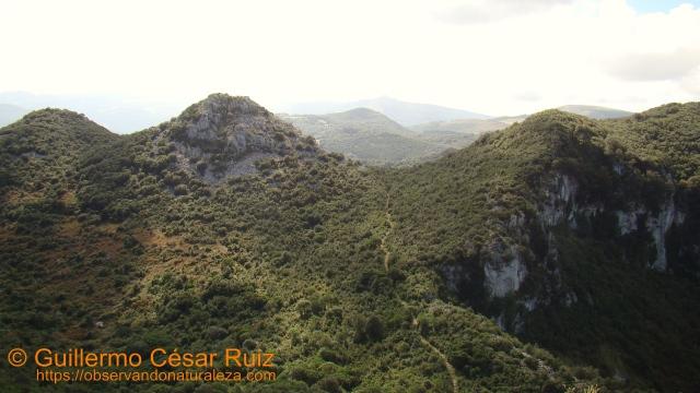 Vista atrás, primer collado de Cobañera superado desde inicio de la senda en el Alto de Candina y Hoya Cobañera abajo