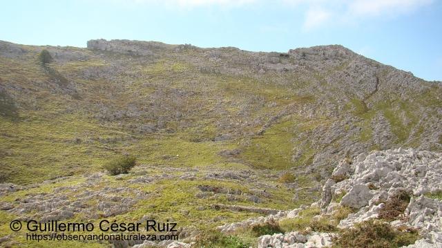 Vistas de la Hoya Llanegro y Solpico, segunda cumbre del Monte Candina, sobre los Arcos de Llanegro u Ojos del Diablo