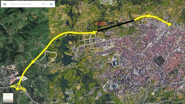 Proyecto Ronda Norte Oviedo. Fuente: Google Maps y elaboración propia