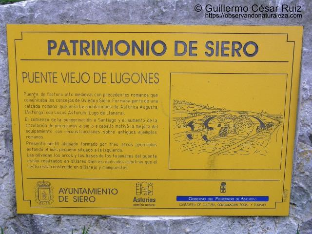 Senda transversal Naranco-Nora. Placa informativa Ponte Vieyu/Puente Vieyu, Llugones/Lugones