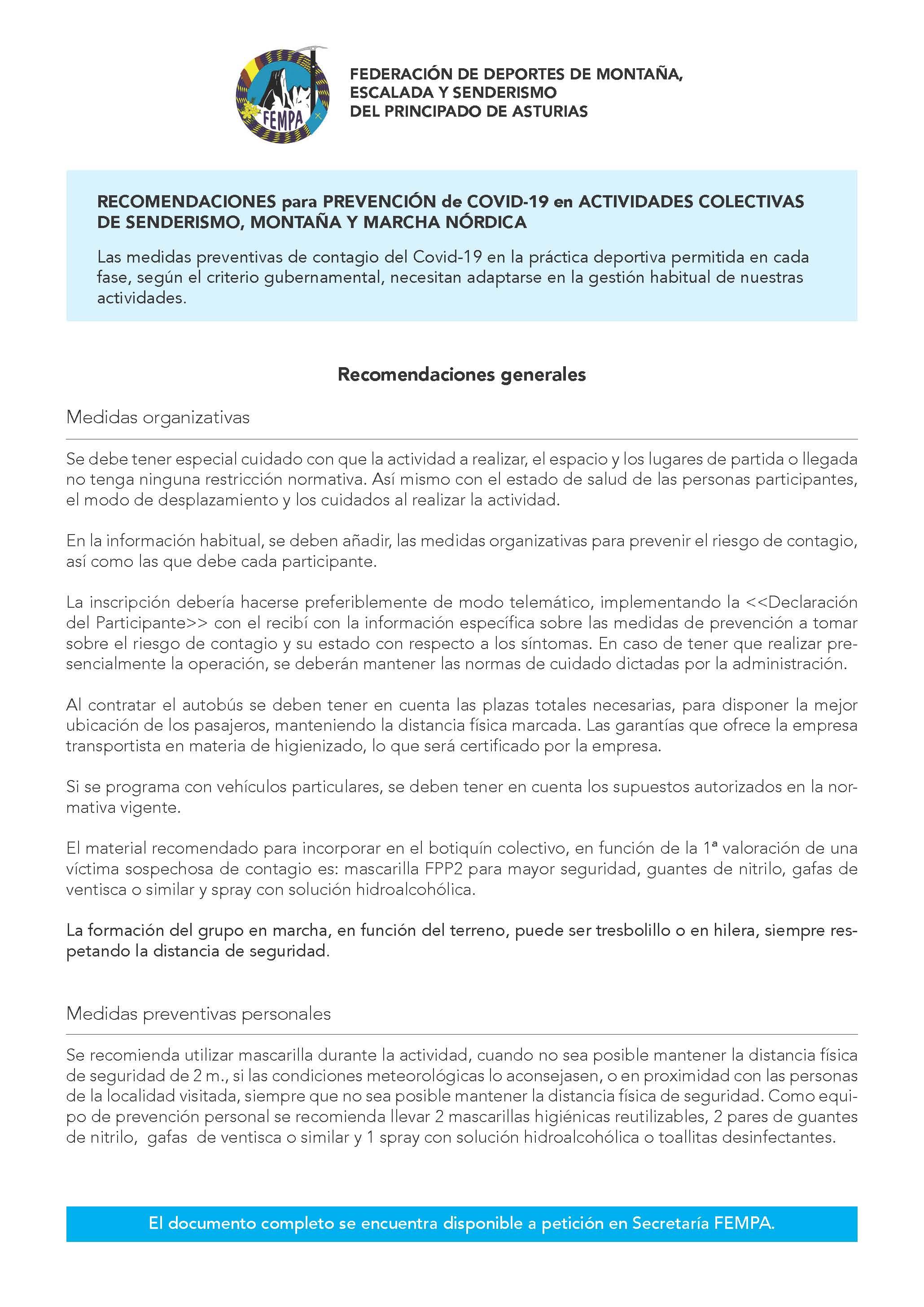PREVENCION COVID 19 ACTIVIDADES COLECTIVAS NATURALEZA